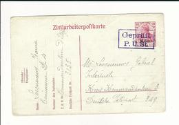 "Etapes, 1918 , Zivilarbeiterpostkarte  "" Geprüft P.Ü.St.  "" Lila  #6462 - Weltkrieg 1914-18"