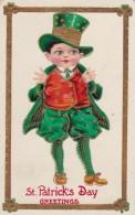 St Patricks Day Greetings, Boy Dressed In Green, C1910s Vintage Postcard - Saint-Patrick's Day