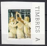 Sandro Botticelli, Les Trois Graces, AUTO ADHESIF N° 509, 2010  Neuf **   Grande Marge - Adhésifs (autocollants)