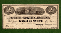 US Note STATE Of NORTH CAROLINA $2 Raleigh 1863 CIVIL WAR ERA Note N.2363 - Devise De La Confédération (1861-1864)