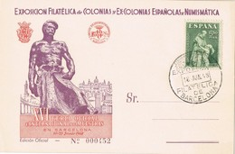 20550. Tarjeta Exposicion BARCELONA 1948. Exposicion Colonias Españolas. Edifi Num 1004 - 1931-Hoy: 2ª República - ... Juan Carlos I