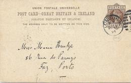 STORIA POSTALE INTERO GRAN BRETAGNA REGINA VITTORIA  1892 Repiquage - 1840-1901 (Regina Victoria)
