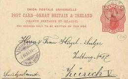 STORIA POSTALE INTERO GRAN BRETAGNA REGINA VITTORIA  1892 - 1840-1901 (Regina Victoria)