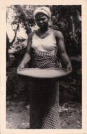 Africa Native Woman Washing Basket Of Grain Real Photo - Postcards