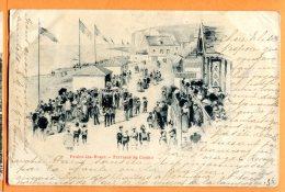 ALB079, Veules-les-Roses, Terrasse Du Casino, Très Animée, 1 Pli Non Visible, Précurseur, Circulée 1900 - Veules Les Roses