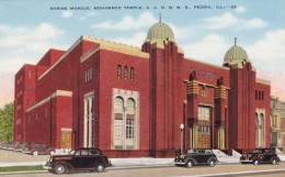 Peoria Illinois, Shrine Mosque Mohammed Temple AAONMS, Street Scene, C1930s/40s Vintage Linen Postcard - Peoria