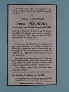 DP Petrus VERDOODT ( DE WIT ) Wezembeek-Oppem 26 Aug 1865 - 7 Feb 1952 ( Detail Zie Foto´s ) !