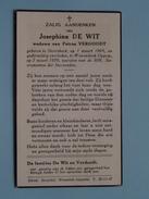 DP De WIT Josephina ( VERDOODT ) Sterrekeeb 1 Maart 1869 - Wezembeek-Oppem 7 Maart 1959 ( Detail Zie Foto´s ) !