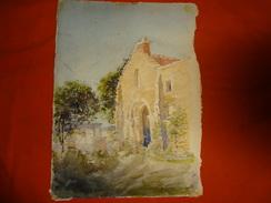 Aquarelle De L'Architecte Emile Bertone - 1898 - Mareuil Sur Ourcq (Oise) Vieille église De L'Abbaye De Fulaisnes - Aquarelles