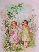 Cpa  ANGE , PETITS ANGES En PROMENADE, FLEURS , 1906 ,CUTE ANGELS & FLOWERS   Recto Verso Prix Fixe - Anges