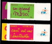 INVITATION / MERCI 2005 ADHESIFS  LOGO PRIVE  COTE MAURY 30 EUROS N° 36 / 38 - France