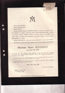 LOUVAIN MEERSSEN Clara DU PON épouse Henri REGOUT 1871-1927 Doodsbrief MAASTRICHT LHOEST SCHREINEMACHER - Obituary Notices