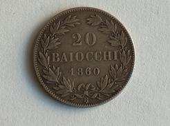 VATICAN 20 Baiocchi 1860 AN XV - Silver, Argent - Vatican