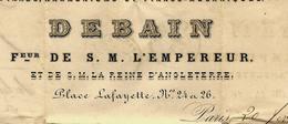 LETTRE SIGNEE ORIGINALE A.DEBAINFABRICANT DE  PIANOS HARMONIUMS PIANOS MECANIQUES à PARIS  1858 V. HISTORIQUE - France
