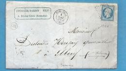 Somme - Gamaches Pour Elbeuf. CàD Type 15 + PC. Origine Rurale De DARGNIES - 1849-1876: Période Classique