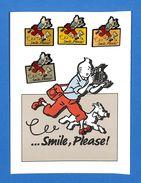 "Carte Postale Tintin Avec 4 Pin's - Milou - "" Smile, Please "" - Color Star Benelux - Hergé Tintin Licensing 1992 - BD"