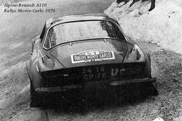 Alpine-Renault A110  Rallye Monte-Carlo 1970 - Une Vieille Photo Reproduite Carte Postale - Rally Racing