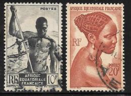 French Equatorial Africa, Scott # 181, 183 Used Niger Boatmen, Bacongo Woman,1946