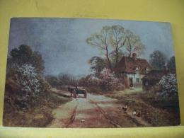 B3 1626 - ROUTE DE CAMPAGNE AVEC CHARETTE A CHEVAL ET FERME - 1920 - Peintures & Tableaux
