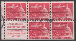 UNITED STATES    SCOTT NO.   C64 B     USED     YEAR   1962   BOOKLET PANE - United States