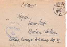 Feldpost WW2: To Tierartl. Hochschule Abt. VI In Brünn Mähren  From Regimentsstab Infanterie-Regiment 456 FP 37779 P/m D - Militares