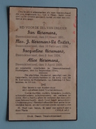 DP Fam. Heremans / De Coster SMARTELIJK OVERLIJDEN Steenokkerzeel HUMELGEM 10 Sept.1940 ( Zie Foto´s ) !