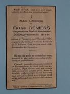 DP Frans RENIERS ( DESCHOUWER ) Oorlogsverminkte / Tervueren 2 Dec 1884 - Stokkel-Kraainem 27 Feb 1944 ( Zie Foto´s ) !