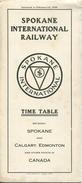 Time Table 1930 - Spokane International Railway - Fahrplan Between Spokane And Calgary Edmonton And Other Points In Cana - World