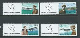 Tonga Niuafo´ou 1987 Aviator & Plane Set 4 With Labels MNH Specimen Overprint - Tonga (1970-...)