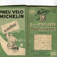Carte Routière Cycliste Région Parisienne Michelin 120, 1951, Guide Des Réparateurs Vélos - Strassenkarten