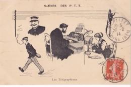 SCENES DES P T T LES TELEGRAPHISTES SIGNEE MORER - Illustratoren & Fotografen