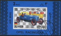 Ajman (United Arab Emirates) Opel Racing Classic Car Used Cancelled Block M/S (U-103)