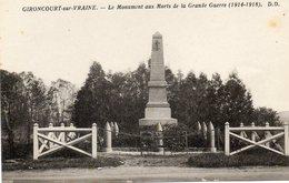 88  GIRONCOURT Sur VRAINE             Le Monument Aux Morts De La Grande Guerre - Andere Gemeenten
