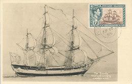 D27879 CARTE MAXIMUM CARD RR 1955 PITCAIRN ISLANDS - THE BOUNTY CP ORIGINAL - Ships