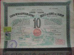 Grece / Greece : Titre De 10 Actions / 10 Shares :   Société Des Usines De Laurium 1923 Avec Tous Les Coupons. - Otros