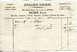 N°28 M -facture Richer Jeune -épuration D'huile- L'Aigle- - France