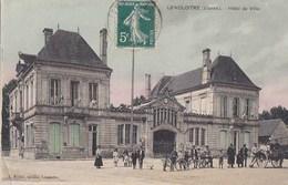 86 LENCLOITRE  Animation Attelage  HOTEL De VILLE Pavoisé DRAPEAUX Annonce Ce SOIR BAL Gratuit - Lencloitre