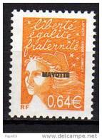 Mayotte N° 122  XX  Série Courante : Marianne Du 14 Juillet Surchargée Mayotte : 0.64 €  Orange Foncé Sans Charnièr