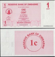 Zimbabwe P 33 - 1 Cent 1.8.2006 BEARER CHEQUE - UNC - Zimbabwe