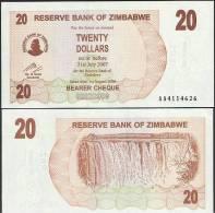 Zimbabwe P 40 - 20 Dollars 1.8.2006 BEARER CHEQUE - UNC - Zimbabwe