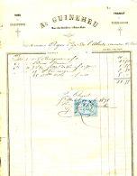 N°33 M -facture Vins A. Guineheu à Saint Malo - France