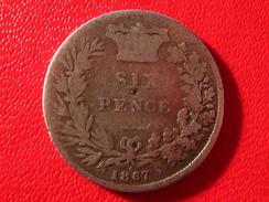 Royaume-Uni - UK - Six Pence 1867 - Die Number 6 3770 - 1816-1901: 19. Jh.