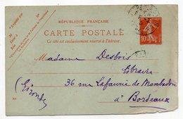 Entier--CP 10c Semeuse Rouge (datée 808)-cachet PARIS 51 Pour Bordeaux-33 - Entiers Postaux