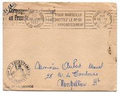 1957--MARSEILLE--Lettre En Franchise-origine Dion Rle Recrutement Pour Montpellier-cachet+flamme Postale- - Marcophilie (Lettres)
