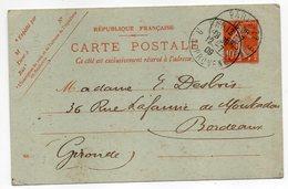 Entier--CP 10c Semeuse Rouge (datée 820)-cachet PARIS 22--75 (librairie Ancien Temps IXème)  Pour  BORDEAUX-33 - Entiers Postaux