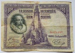 BILLET ESPAGNE - P.76 - 15/08/1928 - 100 PESETAS - CERVANTES - [ 1] …-1931 : First Banknotes (Banco De España)