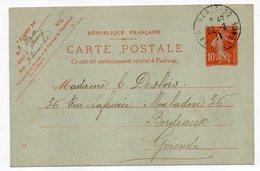 Entier--CP 10c Semeuse Rouge (datée 951)-cachet PARIS 22--75   Pour  BORDEAUX-33 - Standard Postcards & Stamped On Demand (before 1995)
