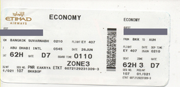 Alt970 Carta Imbarco Boarding Pass Flight Ticket Volo Airline Biglietto Aereo Alitalia Ethiad Airways Milan Abu Dhabi - Europe
