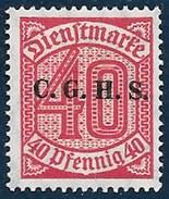 Timbre  D' Allemagne  1920  '  Yvert  N° 13  Neuf**  '   40 P. Rouge Carminé ( Service, Surchargé C.G.H.S ) - Prussia