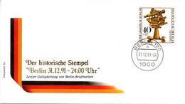 """(Gm4) WB Schmuckumschlag """"Letzttag Der Verwendung Von PWZ WB"""" EF WB SSt 31.12.1991 BERLIN 120 - [5] Berlino"""